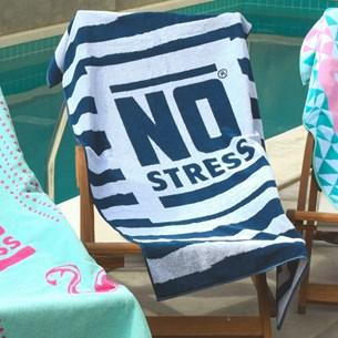 Toalha De Praia Estampada No Stress Listras - No Stress