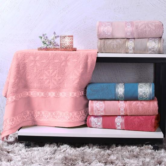 Toalha De Rosto Avulsa Algodão 340G/M² Ponto Cruz Barra Jacquard Karicia Rosa Charme - Bene Casa