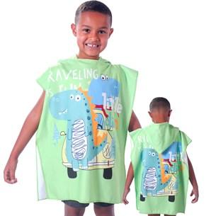 Toalha Poncho De Praia C/  Capuz Kids Amigo Dino - Bene Casa