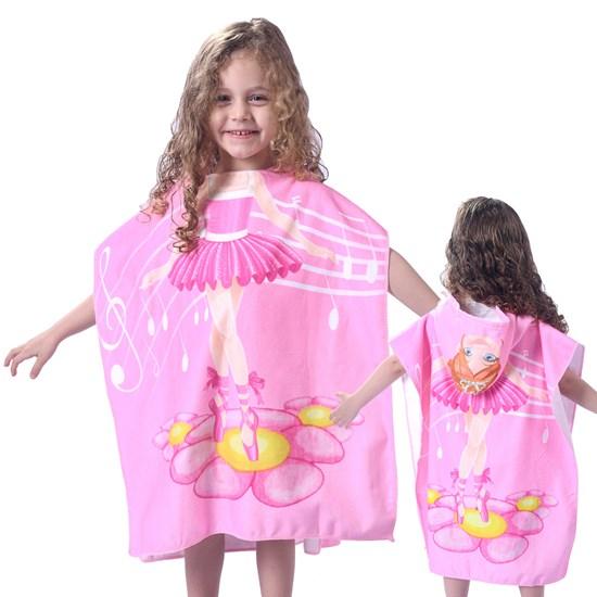 Toalha Poncho De Praia C/  Capuz Kids Bailarina - Bene Casa