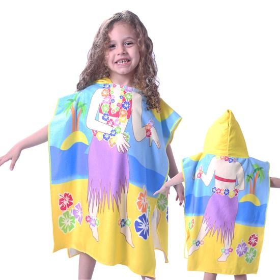 Toalha Poncho De Praia C/  Capuz Kids Havaiana - Bene Casa