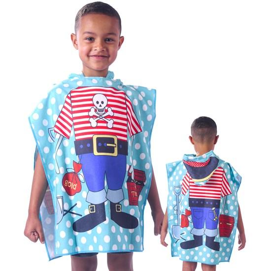 Toalha Poncho De Praia C/  Capuz Kids Pirata - Bene Casa