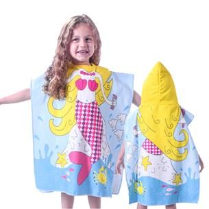 Toalha Poncho De Praia C/  Capuz Kids Sereia - Bene Casa
