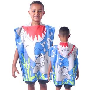Toalha Poncho De Praia C/  Capuz Kids Tubarão - Bene Casa