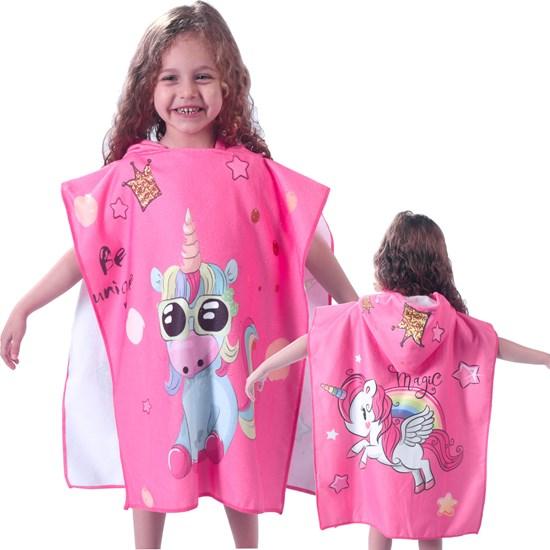 Toalha Poncho De Praia C/  Capuz Kids Unicornio - Bene Casa